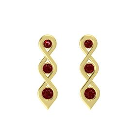 Round Ruby 14K Yellow Gold Earring with Ruby