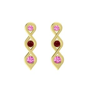 Round Ruby 14K Yellow Gold Earring with Pink Tourmaline and Pink Sapphire