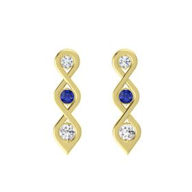 Round Blue Sapphire 14K Yellow Gold Earring with Diamond and White Sapphire