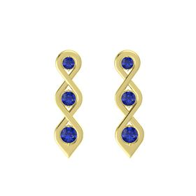 Round Sapphire 14K Yellow Gold Earrings with Sapphire