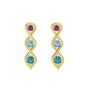 Round Blue Topaz 14K Yellow Gold Earring with Rhodolite Garnet and London Blue Topaz