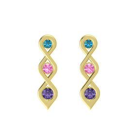 Round Pink Tourmaline 14K Yellow Gold Earring with London Blue Topaz and Iolite