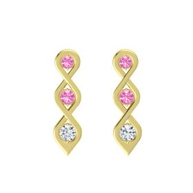 Round Pink Tourmaline 14K Yellow Gold Earring with Pink Tourmaline and Diamond