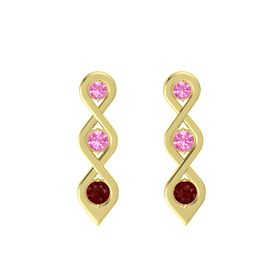 Round Pink Tourmaline 14K Yellow Gold Earring with Pink Tourmaline and Ruby