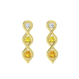 Round Yellow Sapphire 14K Yellow Gold Earring with Diamond and Citrine