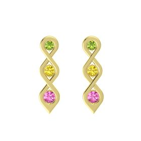 Round Yellow Sapphire 14K Yellow Gold Earring with Peridot and Pink Sapphire