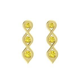 Round Yellow Sapphire 14K Yellow Gold Earring with Yellow Sapphire