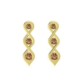 Round Smoky Quartz 14K Yellow Gold Earring with Smoky Quartz