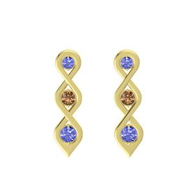 Round Smoky Quartz 14K Yellow Gold Earring with Tanzanite