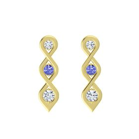 Round Tanzanite 14K Yellow Gold Earrings with Diamond