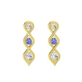 Round Tanzanite 14K Yellow Gold Earring with White Sapphire