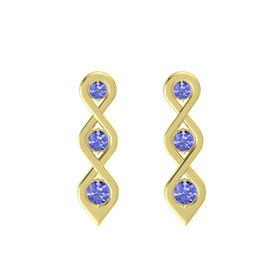 Round Tanzanite 14K Yellow Gold Earring with Tanzanite