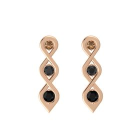 Round Black Diamond 18K Rose Gold Earring with Smoky Quartz and Black Onyx