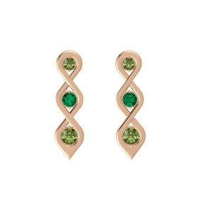Round Emerald 18K Rose Gold Earring with Green Tourmaline