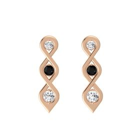 Round Black Onyx 18K Rose Gold Earring with White Sapphire