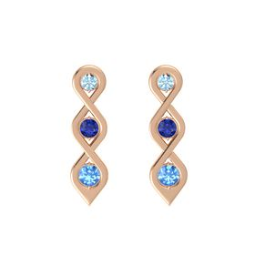 Round Blue Sapphire 18K Rose Gold Earring with Aquamarine and Blue Topaz