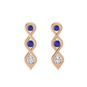 Round Blue Sapphire 18K Rose Gold Earring with Blue Sapphire and Diamond