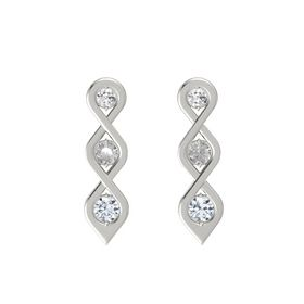 Round Rock Crystal 18K White Gold Earrings with White Sapphire & Diamond