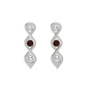Round Red Garnet 18K White Gold Earring with Diamond