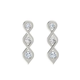 Round White Sapphire 18K White Gold Earrings with Diamond