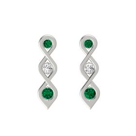 Round White Sapphire 18K White Gold Earring with Emerald