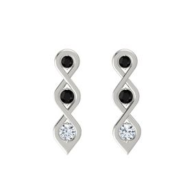 Round Black Onyx 18K White Gold Earrings with Black Onyx & Diamond