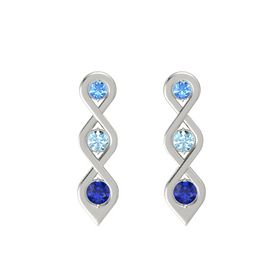 Round Aquamarine 18K White Gold Earring with Blue Topaz and Blue Sapphire