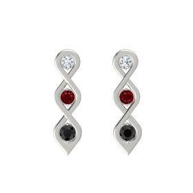 Round Ruby 18K White Gold Earring with Diamond and Black Diamond