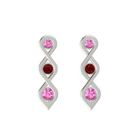 Round Ruby 18K White Gold Earring with Pink Sapphire