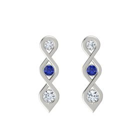Round Blue Sapphire 18K White Gold Earring with Diamond