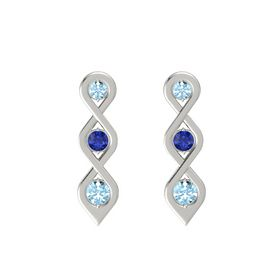 Round Blue Sapphire 18K White Gold Earring with Aquamarine