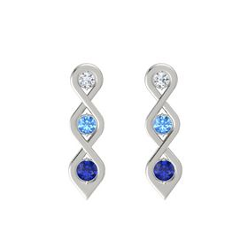Round Blue Topaz 18K White Gold Earrings with Diamond & Sapphire
