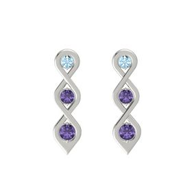 Round Iolite 18K White Gold Earring with Aquamarine and Iolite