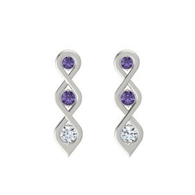 Round Iolite 18K White Gold Earring with Iolite and Diamond