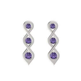 Round Iolite 18K White Gold Earring with Iolite
