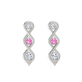 Round Pink Tourmaline 18K White Gold Earring with Diamond