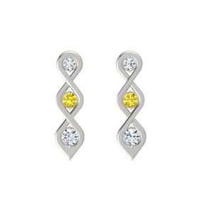 Round Yellow Sapphire 18K White Gold Earrings with Diamond