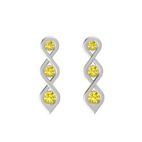 Round Yellow Sapphire 18K White Gold Earring with Yellow Sapphire