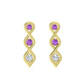 Round Amethyst 18K Yellow Gold Earring with Amethyst and Diamond