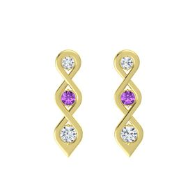 Round Amethyst 18K Yellow Gold Earring with Diamond