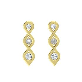 Round Rock Crystal 18K Yellow Gold Earring with Diamond