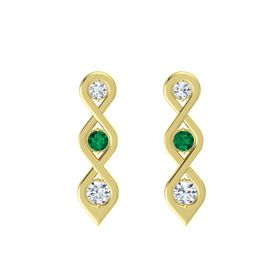 Round Emerald 18K Yellow Gold Earring with Diamond