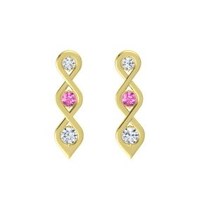 Round Pink Sapphire 18K Yellow Gold Earring with Diamond