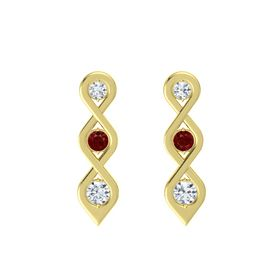 Round Ruby 18K Yellow Gold Earring with Diamond