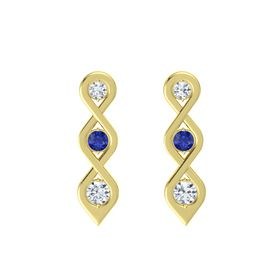 Round Blue Sapphire 18K Yellow Gold Earring with Diamond