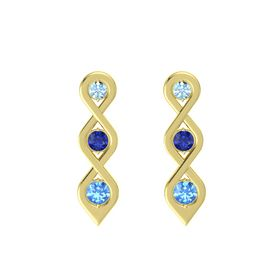 Round Blue Sapphire 18K Yellow Gold Earring with Aquamarine and Blue Topaz