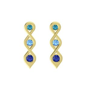 Round Blue Topaz 18K Yellow Gold Earring with London Blue Topaz and Blue Sapphire