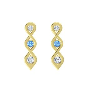 Round Blue Topaz 18K Yellow Gold Earring with Diamond