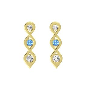 Round Blue Topaz 18K Yellow Gold Earring with White Sapphire