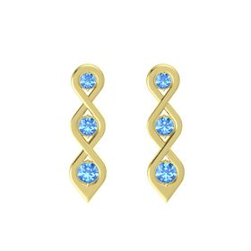 Round Blue Topaz 18K Yellow Gold Earring with Blue Topaz